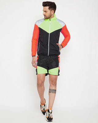 Shop Fugazee Neon Active Cut & Sew Wind Cheater Jacket and Shorts Clothing Set-Front