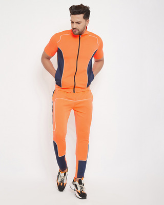 Shop Fugazee Neon Orange Scuba Piping Tracksuit-Front