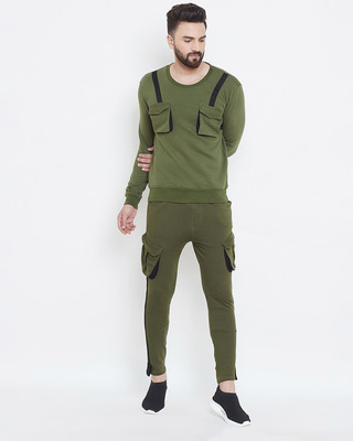 Shop Fugazee Olive Taped SweatShirt & Cargo Joggers Combo Suit-Front