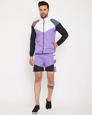 Shop Fugazee Plum Active Cut & Sew Wind Cheater Jacket and Shorts Clothing Set-Front