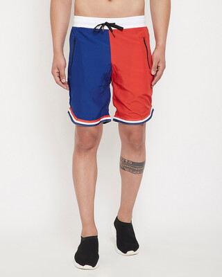 Shop Fugazee Red & Blue Active Basketball Shorts-Front