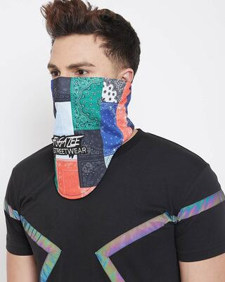 Shop Fugazee Technicolour Paisley Print Face Cover-Front