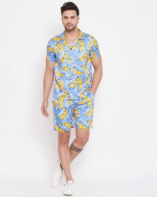 Shop Fugazee Tropical Banana Printed Cuban Shirt and Shorts Combo Set-Front