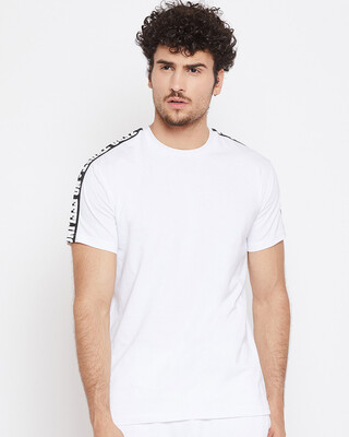 Shop Fugazee White Contrast Taped Tee-Front