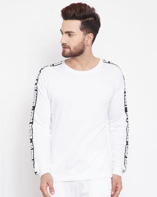 Shop Fugazee White Printed Taped Sweatshirt-Front