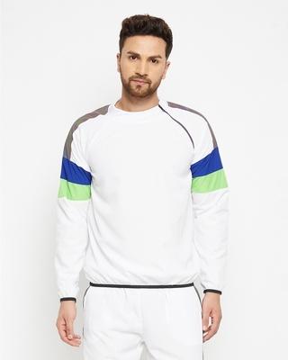 Shop FUGAZEE White Reflective Turtle Neck Sweatshirt-Front