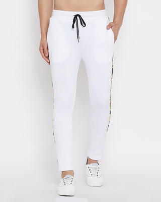 Shop Fugazee White Scuba Venetian Sweatpants-Front