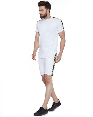 Shop Fugazee White Venetian Combo Summer Suit-Front
