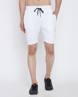 Shop Fugazee White Venetian Scuba Shorts-Front