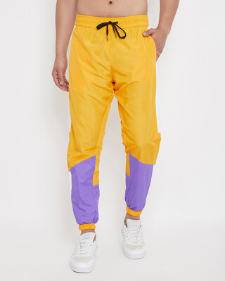 Shop Fugazee Yellow & Plum Lightweight Sweatpant-Front