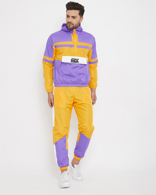 Shop Fugazee Yellow and Plum Wind Breaker Tracksuit-Front