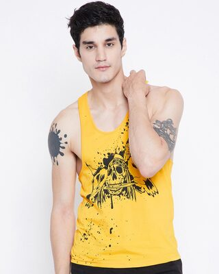 Shop Fugazee Yellow Skeletal Vest-Front