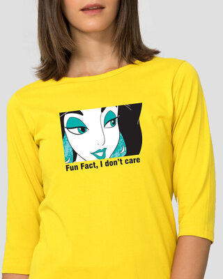 Shop Fun Fact I Don't Care Round Neck 3/4th Sleeve T-Shirt (DL)-Front