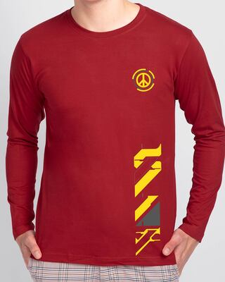 Shop Funk Peace Full Sleeve T-Shirt Bold Red-Front