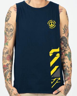 Shop Funk Peace Round Neck Vest Navy Blue-Front
