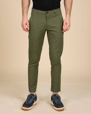 Shop Gables Green Slim Fit Cotton Chino Pants-Front