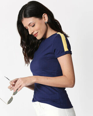 Shop Galaxy Blue - Happy Yellow Shoulder Sleeve T-Shirt-Front