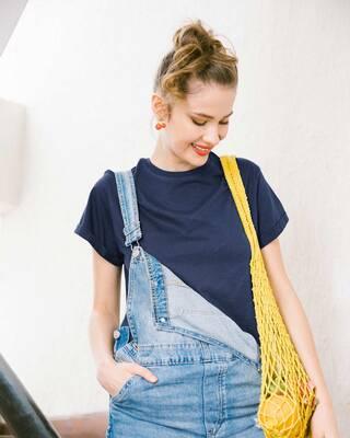 Shop Galaxy Blue Boyfriend T-Shirt-Front
