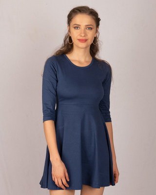 Shop Galaxy Blue Flared Dress-Front