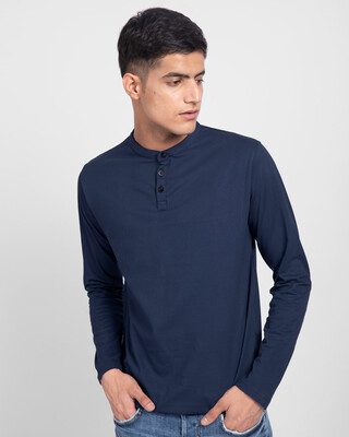 Shop Galaxy Blue Full Sleeve Henley T-Shirt-Front