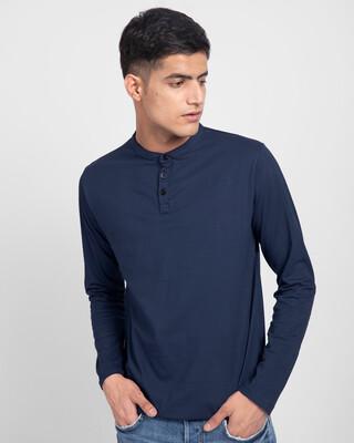 Shop Galaxy Blue Full Sleeve Henley T-Shirt-Front