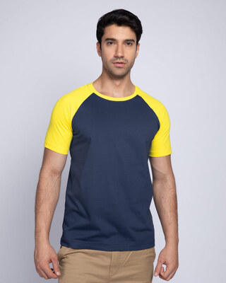 Shop Galaxy Blue-Pineapple Yellow Half Sleeve Raglan T-Shirt-Front