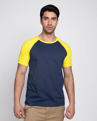 Shop Galaxy Blue-Pineapple Yellow Half Sleeve Raglan T-Shirt-Front