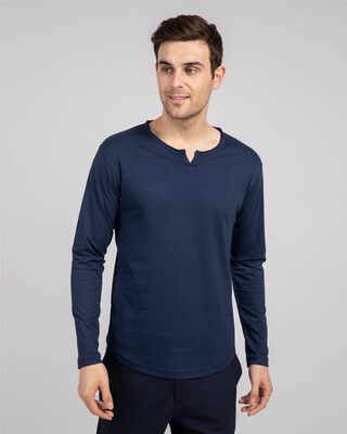 Shop Galaxy Blue Slit Neck Full Sleeve Henley T-shirt-Front
