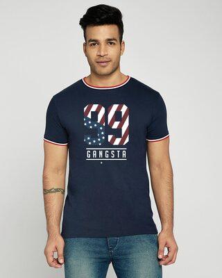 Shop Gangsta 99 Crewneck Varsity Rib H/S T-Shirt-Multicolor-Front
