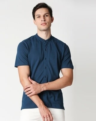 Shop Gibral Tar Sea Mandarin Collar Half Sleeve Shirt-Front