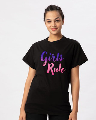 Shop Girls Rule Boyfriend T-Shirt-Front