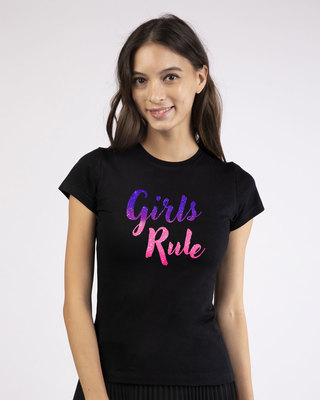 Shop Girls Rule Half Sleeve T-Shirt-Front