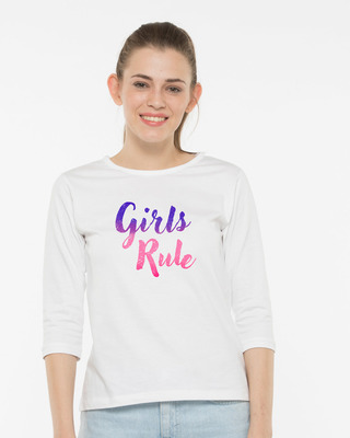 Shop Girls Rule Round Neck 3/4th Sleeve T-Shirt-Front
