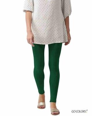 Shop Go Colors Bottle Green Ankle Length Legging-Front
