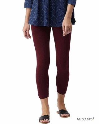 Shop Go Colors Bright Maroon 7/8 Legging-Front