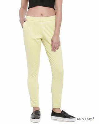Shop Go Colors Bright Yellow Denim Jeggings-Front