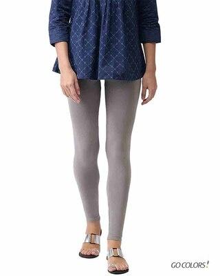 Shop Go Colors Ebony Grey Ankle Length Legging-Front