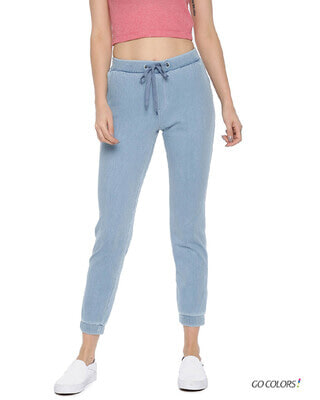 Shop Go Colors Light Blue Denim Casual Cotton Joggers-Front