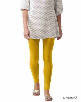 Shop Go Colors Light Mustard Ankle Length Legging-Front