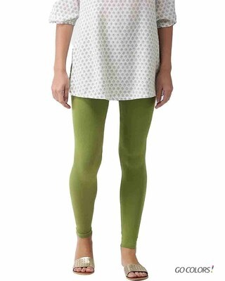 Shop Go Colors Pista Green Ankle Length Legging-Front