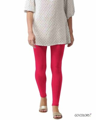 Shop Go Colors Young Fucshia Ankle Length Legging-Front