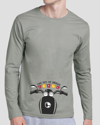 Shop Go Into The Unknown Full Sleeve T-Shirt Meteor Grey-Front