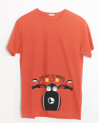Shop Go Into The Unknown Half Sleeve T-Shirt Oxyfire-Front
