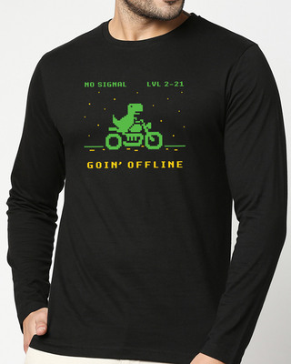 Shop Goin Offline Full Sleeve T-Shirt Black-Front