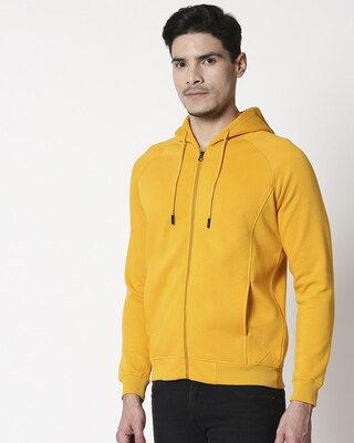 Shop Golden Yellow Stylised Panel Zipper Hoodie-Front