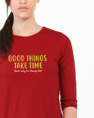 Shop Good Things Round Neck 3/4th Sleeve T-Shirt-Front