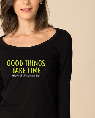 Shop Good Things Scoop Neck Full Sleeve T-Shirt-Front