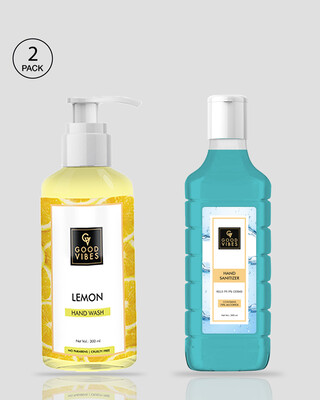 Shop Good Vibes Hand Care Essential Combo - Hand Wash ( Lemon) & Sanitizer (300 ml + 300 ml)-Front