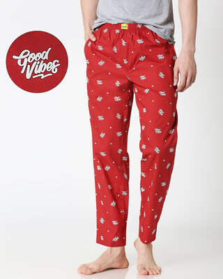 Shop Good Vibes Pattern All Over Printed Pyjama-Front