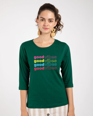 Shop Good Vibes Repeat Round Neck 3/4th Sleeve T-Shirt-Front